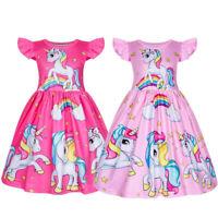 Girls Unicorn Princess Dress Rainbow Cartoon Dress Kids Bridesmaid Xmas Costume