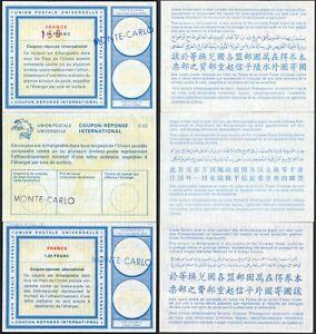 MONACO REPLY PAID COUPONS IRCs 1970s..3 ITEMS