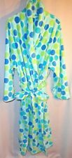 White w/ Blue & Aqua Polka Dot 1x Plus Size Full Length Belted Bathrobe Robe