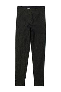 EUC Tea Collection Sparkly Stripe Print Leggings, Black, Size 6