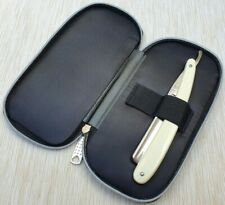 Double Faux Zip up Leather Straight Razor Travel Case/Storage case by Windrose
