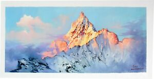 Magnificent Mountains Oil Painting (print) - 42 x 100cm