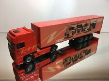 LION CAR DAF 95 XF 420 TRUCK + TRAILER - SPACE CAB PROMO - RED 1:50 - EXCELLENT