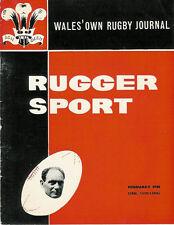 RUGGER SPORT - WELSH RUGBY MAG, FEB 1961, PONTYPRIDD & GLAMORGAN WANDERERS