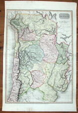 La Plata, Argentina, Chile, Uruguay, Pinkerton, V. Large Original Antiguo mapa 1812
