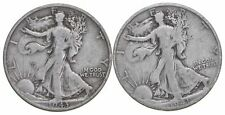 (2) 1943-S & 1941-S Walking Liberty Half Dollars 90% Silver $1.00 Face *554