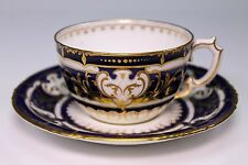 Incredible 19th Century Royal Crown Derby Cobalt Blue Gold Cup and Saucer
