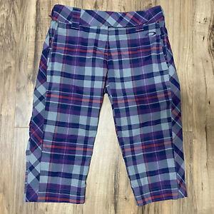 Oakley Women's Size 2 Golf Capri Pants Purple Plaid Albatross Stretch GUC