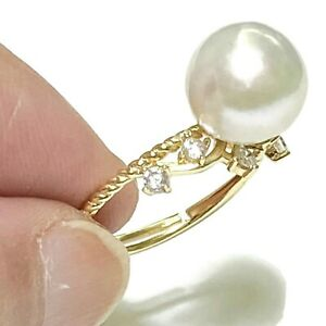Fabulous Natural White Edison Cultured 9.5 - 10 mm Round Pearl Ring Size 6 - 7