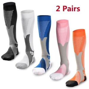 2 Pairs 20-30 mmhg Sports Knee High Compression Socks for Running,Fitness