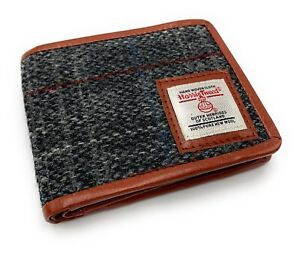Mens Harris Tweed Trifold Wallet Grey Check