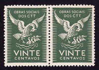 PORTUGAL CINDERELLA STAMP ⭐ OBRAS SOCIAIS DOS CTT ⭐ SOCIAL CHARITY - STRIP OF 2