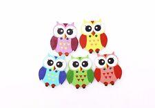 Owl Wooden Button Cute Cartoon Birds Children Baby Decorative Wood DIY 20pcs