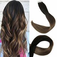 Full Shine Skin Weft Tape Human Hair Extensions 20pcs 50g Balayage #1B/6/27 USA