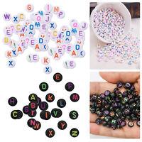 Alphabet Letter Mixed Colour Beads Round Gems Kids Girls DIY Jewellery Gift