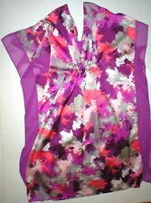 New Womens NWT $68 H Halston Caftan Night Gown S M Cover Up Purple Gray Orange