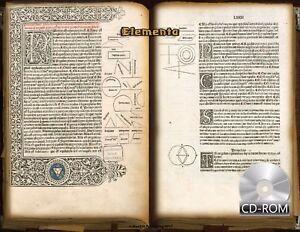 "Elementa - Euclid's ""Elements"" 1482 AD 1st Edition Latin Illumination Incunabula"