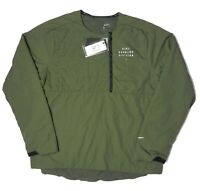NIKE Running Division Ecofill LS Men's Pullover 1/4 Zip Green Size L CU7872-380
