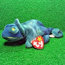 Ty Beanie Baby Rainbow The Blue Chameleon 1997 Retired No Tongue Version - MWMT