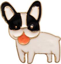 47119 Black White Bulldog Dog Cute Animal Funny Enamel Pin Button Badge Lapel