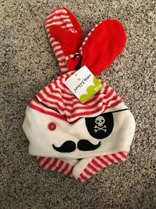 Jumping Beans Toddler Pirate Earflap Striped Beanie Hat Mittens Set 2T-4T