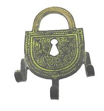 Lock Shape Hook Old Vintage Antique Finish Handmade Brass Wall Hanger Home Decor
