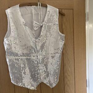 Smiffys Silver White Sequin Waist Coat Medium Fancy Dress Wedding Dance Stage