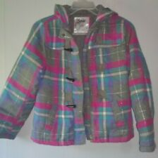 JUSTICE Girls Pink Blue Gray Plaid  Winter Jacket  SIZE 16
