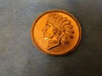 VINTAGE LARGE INDIAN HEAD SOUVENIR PENNY OF ST PAUL 2 7/8 INCH PAPERWEIGHT