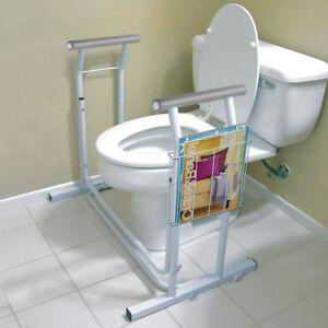 Stand Alone Toilet Safety Frame Rail Bar 375lbs Padded Handrail w/ Magazine Rack