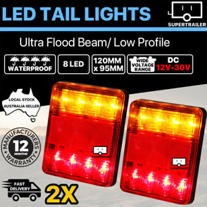2x 8 LED TRAILER LIGHTS TAIL LAMP STOP INDICATOR 4WD 4X4 CAMPER UTE 12-30V