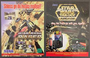 STAR WARS Trilogy & STAR WARS Racer - SEGA - Arcade Flyers - 2 Games - Box Ship!