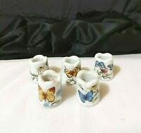 Vintage Butterfly Thimbles German Porcelain Lot of 5  preowned