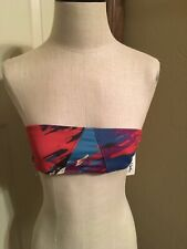 RACHEL PALLY Bandeau Strapless Bikini Top Brick Red & Blue Abstract S NWT (113)