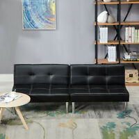 Fold Down Sofa Bed Convertible Lounge Couch Leather Sleeper Futon with Steel Leg