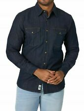 New Wrangler Long Sleeve Denim Shirt Dark Indigo Color Slim Fit Men's Size 3XL