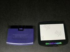 Purple Indigo battery Cover Logo + Glass Holo Screen for Game Boy Advance C36