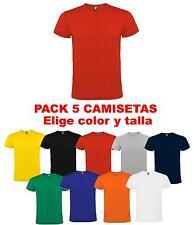 Pack 5 camisetas blancas color 100% algodon lisas Roly hombre adulto niño roja