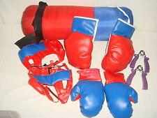 Lote de boxeo 2 pares de guante-punch- protectores de cabeza + extensores muñeca
