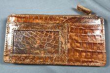 New Genuine Cognac Alligator/Crocodile ID Credit Card Holder Wallet Slim Purse 2