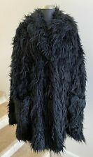NWOT RUNDHOLZ BLACK LABEL Black Faux Fur Notched Collar Coat Jacket, Med