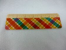 """PLAID 6"""" RULER WOOD BOOKMARK BY NIGHT OWL PAPER GOODS  SUSTAINABLY HARVESTED"""