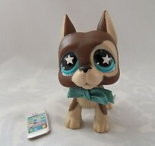 LITTLEST PET SHOP LPS BROWN GREAT DANE DOG STAR EYES W/ BOW & CELL PHONE