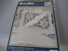 Bucilla Stamped Cross Stitch Magnolia Elegance Pillow Shams