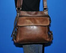 Vintage FOSSIL Brown Leather CASTILLE Crossbody Messenger Satchel Purse Bag