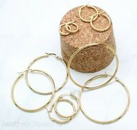 THIN LIGHTWEIGHT 14K YELLOW GOLD IP ROUND HOOPS HOOP CIRCLE UNISEX EARRINGS