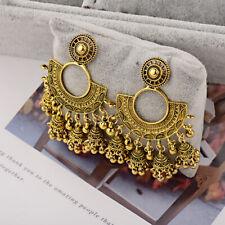 Women's Indian Big Fan Carved Drop Earrings Jhumka Ethnic Tribal Fashion Jewelry