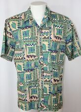 Vintage Island Traditions Hawaiian Shirt Green Tan Blue Tropical Foliage Men L