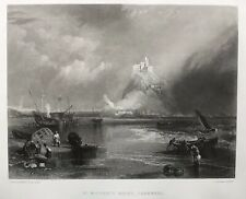 1862 Antique Print; St Michael's Mount, Cornwall after J.M.W. Turner