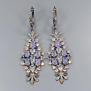 Tanzanite Earrings Silver 925 Sterling Vintage SET  /E42362
